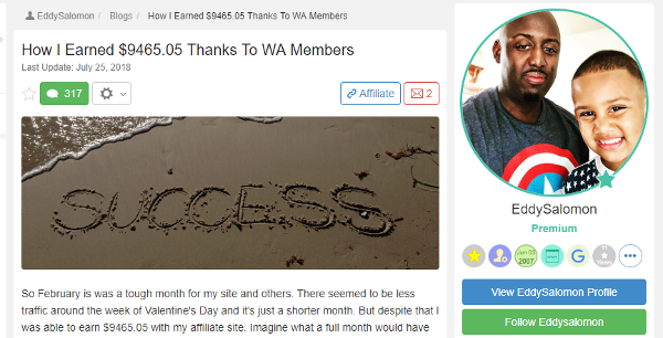 Eddy - How I Earned 9465.05 Thanks To WA Members