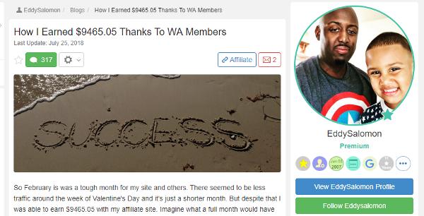 Eddy - How I Earned 9465.05 Thanks To WA Members