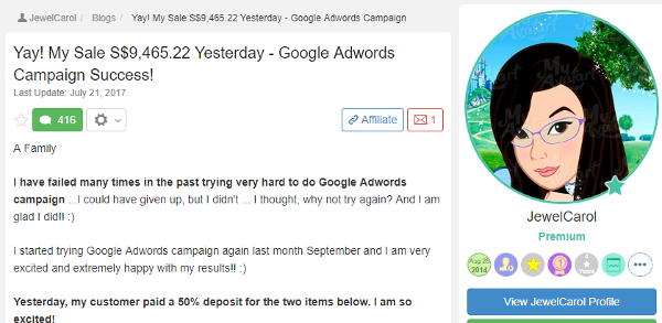 Jewel - Yay My sale 9465.22 Yesterday Google Adwords Campaign Success