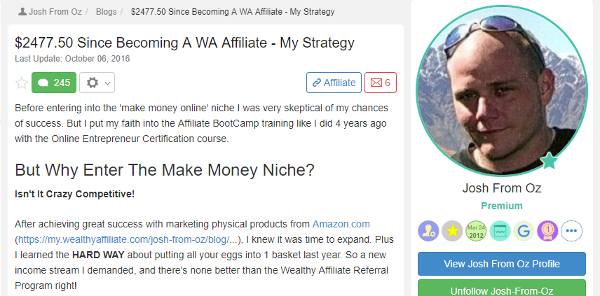 Josh - 2477.50 Since Becoming A WA Affiliate My Strategy