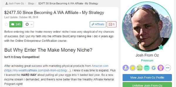 Josh - 2477.50 Since Becoming A WA Affiliate My Strategy
