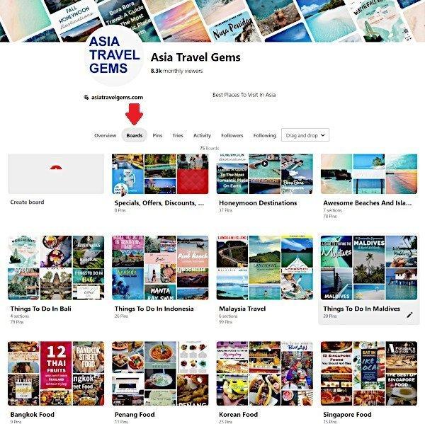 Boards Tab on Pinterest Dashboard