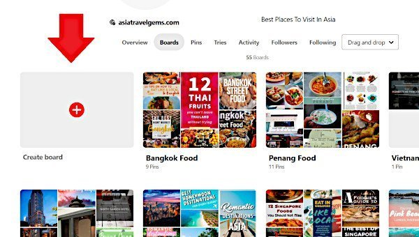 Create a Pinterest Board Option