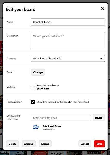 Edit Your Pinterest Board popup