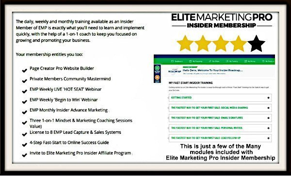 Elite Marketing Pro - Insider Membership Info - small view. Click to see larger view.