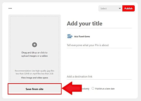 Save from site option on Create a Pin window for Pinterest