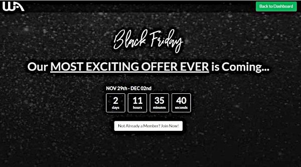 Wealthy Affiliate Black Friday Countdown Page to Register Interest Now