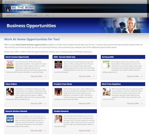 Be The Boss Network Business Opportunities Page