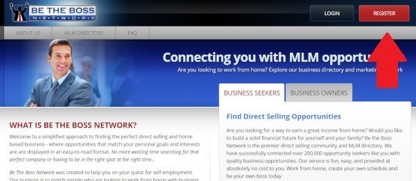 Be The Boss Network Click Red Register Button