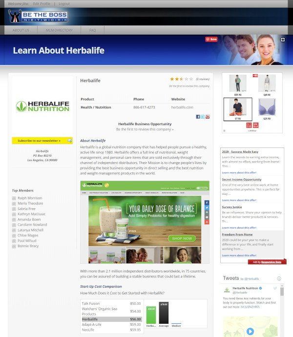 Be The Boss Network MLM Business Opportunity - Herbalife