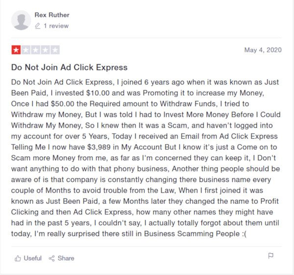 Profit Clicking Bad Review By Customer 1