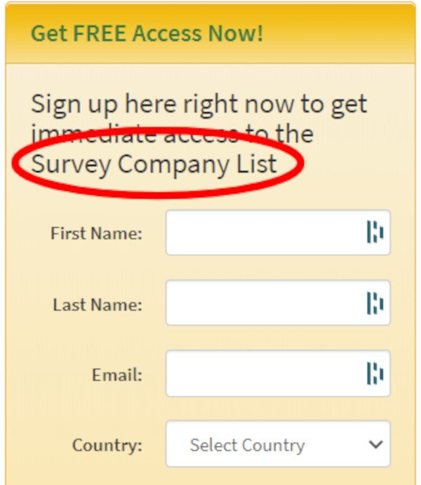Sign Up Form Says You Get Access To Their Survey Company List