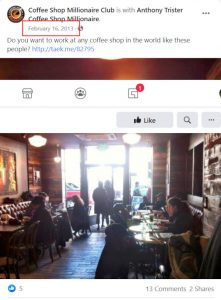 Coffee Shop Millionaire Facebook Page latest post was in 2013
