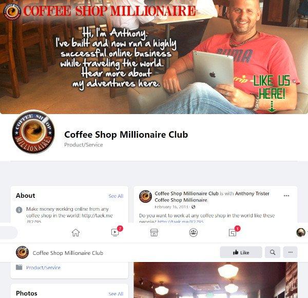 Coffee Shop Millionaire Facebook Page