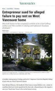 Entrepreneur sued for alleged failure to pay rent on West Van home - Vancouver Sun
