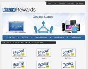 Instant Rewards Sign Up Page