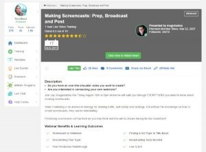 Making Screencasts Prep Broadcast and Post Webinar Training at Wealthy Affiliate