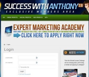 Success with Anthony Login Page