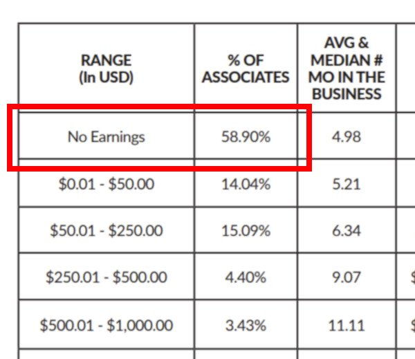 Close up of Talk Fusion Income Disclosure - 58.90% No Earnings