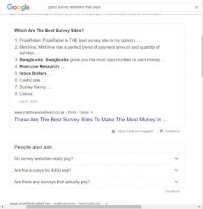 Google Search results- good survey websites that pays