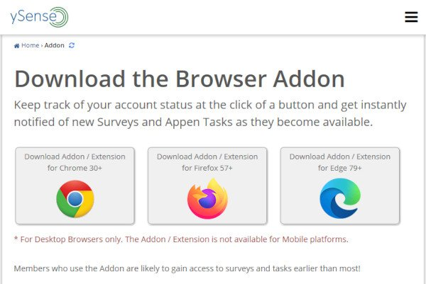 ySense Browser Addon or Extension