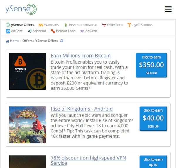 ySense Offers