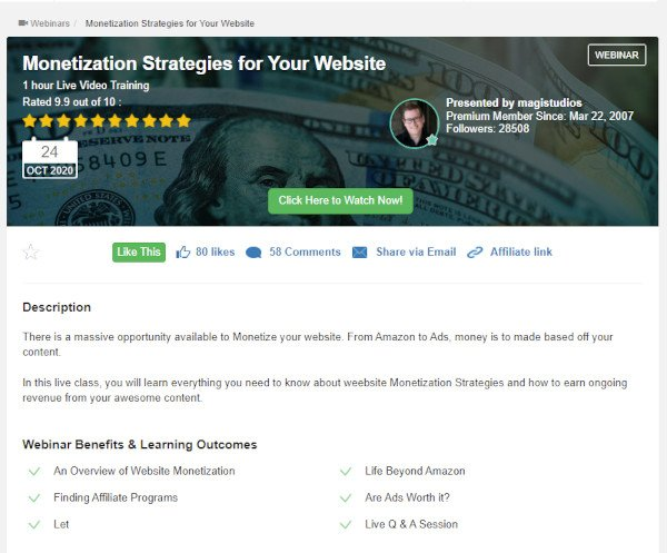 Webinar - Monetization Strategies For Your Website