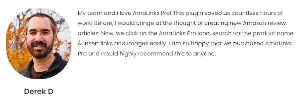 AmaLinks Pro Testimonial - DerekD