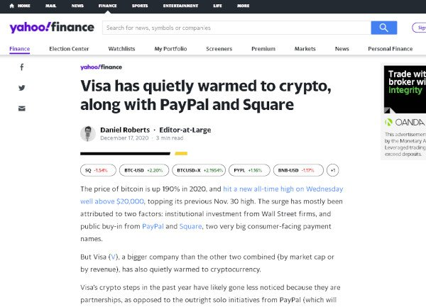 Visa has also quietly warmed to crypto along with PayPal and Square - Yahoo Finance