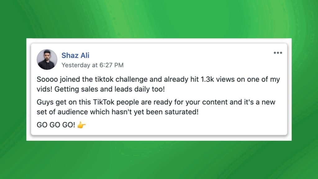 15 Second Free Leads Testimonial by Shaz Ali