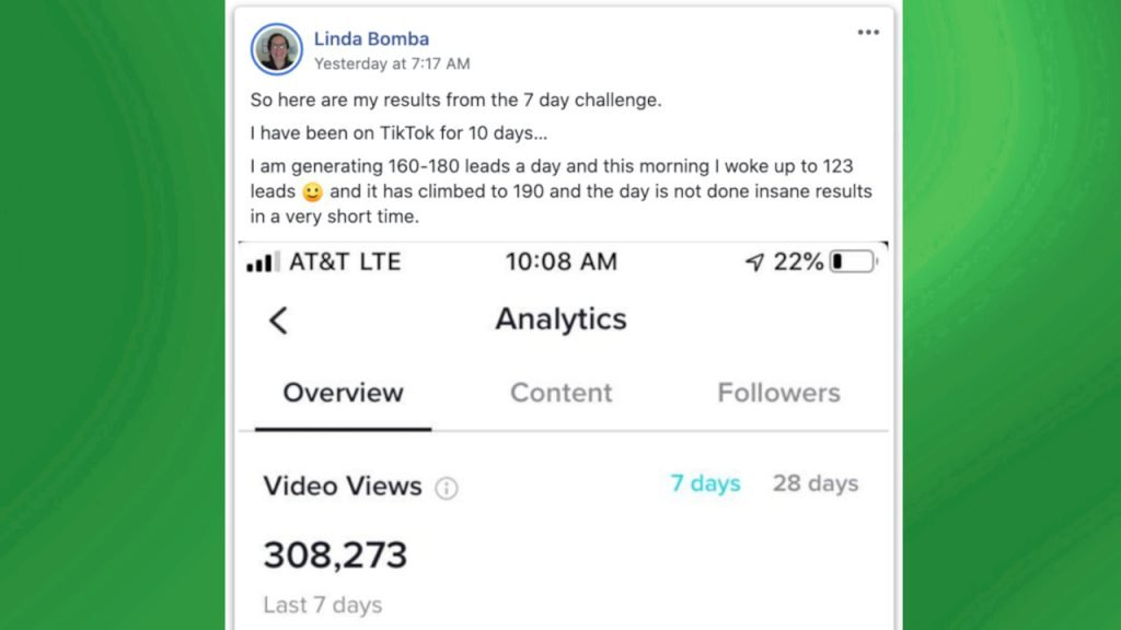 15 Second Free Leads Testimonial by Linda Bomba