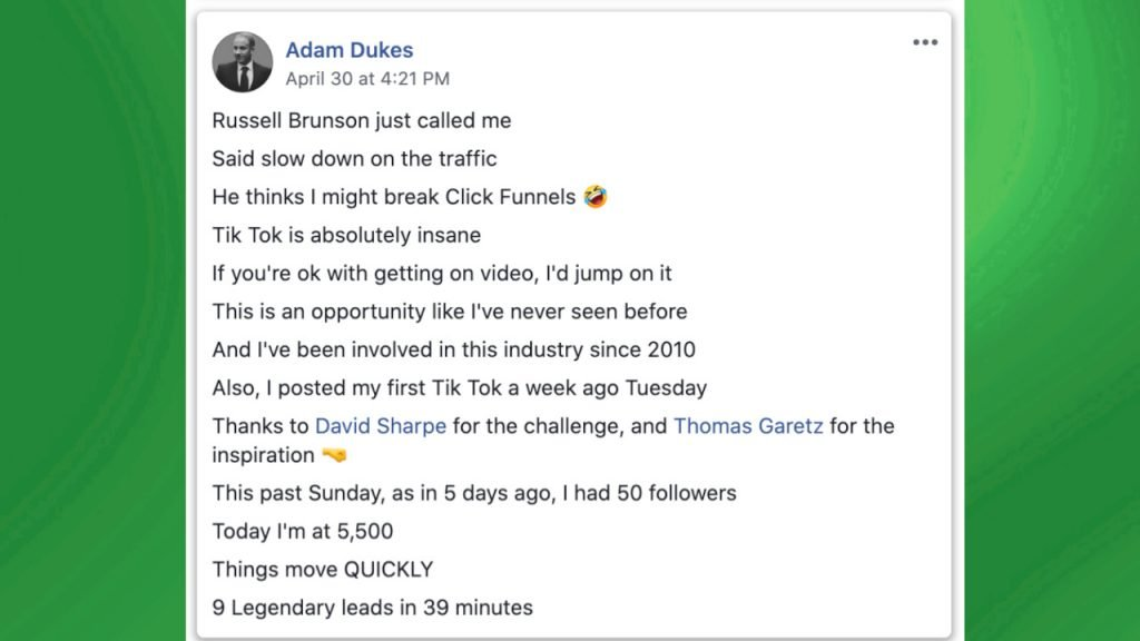 15 Second Free Leads Testimonial by Adam Dukes