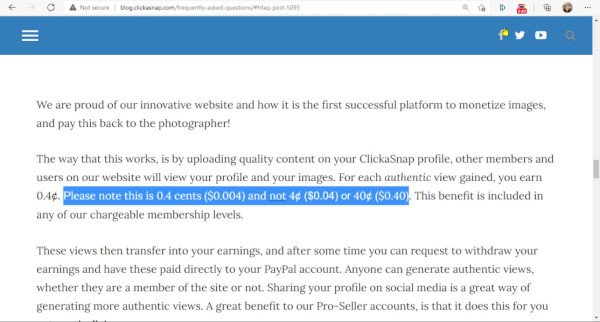 ClickASnap Actually Pays Zero Point Four Of A Cent Only Per Photo View