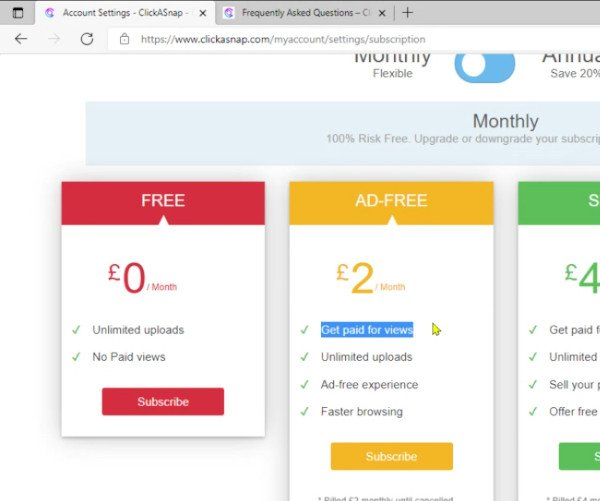 ClickASnap Ad Free Account Costs Monthly Fees and Does Pay Per Photo View