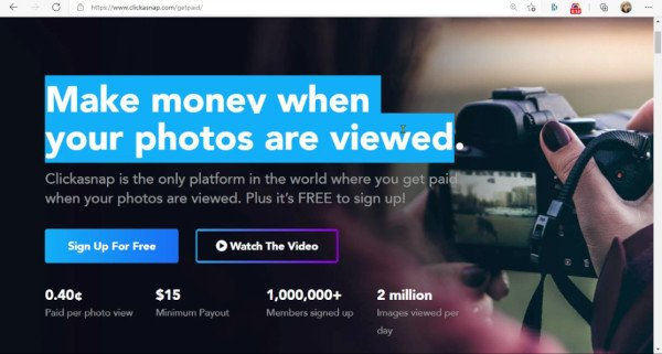 ClickASnap - Make Money when Your Photos Are Viewed