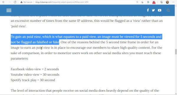 ClickASnap - Paid View Is When Photo Viewed for At Least Five Seconds