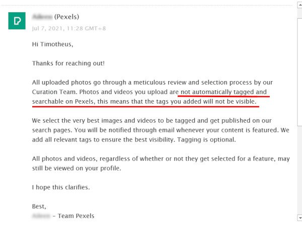 Email from Pexels - Photos and Videos Tags You Added Not Visible