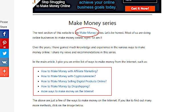 Internal Linking on Online Passive Income Opportunities Passive Online Revenue website