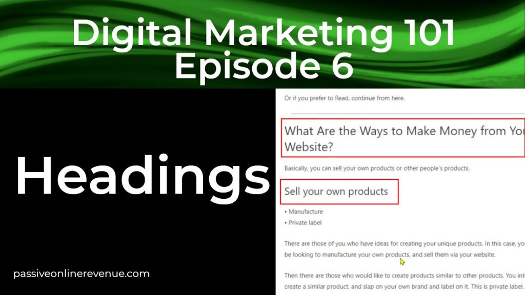 On Page SEO - Headings - 3rd of 12 Techniques That Work | Episode 6 | Digital Marketing 101