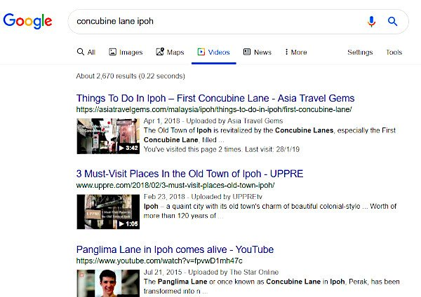 rich snippet search results with videos