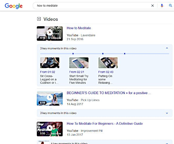 video search results with thumbnail rich snippet