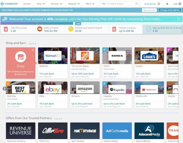 Swagbucks Homepage Dashboard