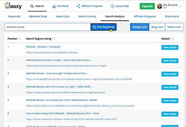 Jaaxy - Search Analysis - Find Out Which Sites Are On 1st Page for Keyword - Webtalk Review